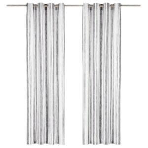 Cortinas argolas metal 2 pcs algodão 140x225cm riscas antracite  - PORTES GRÁTIS