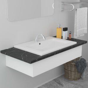 Lavatório embutido 61x39,5x18,5 cm cerâmica branco - PORTES GRÁTIS