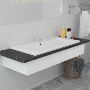 Lavatório embutido 91x39,5x18,5 cm cerâmica branco - PORTES GRÁTIS