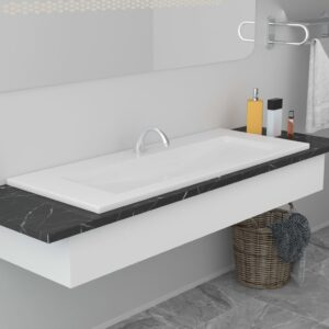 Lavatório embutido 101x39,5x18,5 cm cerâmica branco - PORTES GRÁTIS