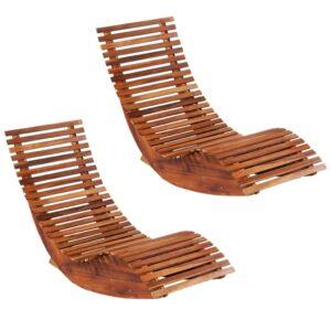 Espreguiçadeiras de baloiçar 2 pcs madeira de acácia - PORTES GRÁTIS
