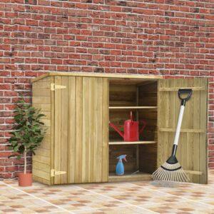 Abrigo p/ ferramentas de jardim 135x60x123 cm pinho impregnado - PORTES GRÁTIS