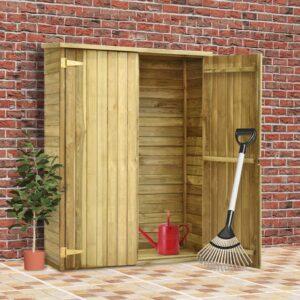 Abrigo p/ ferramentas de jardim 123x50x171 cm pinho impregnado - PORTES GRÁTIS