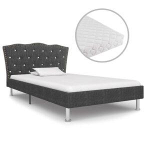 Cama com colchão 90x200cm tecido cinzento-escuro  - PORTES GRÁTIS