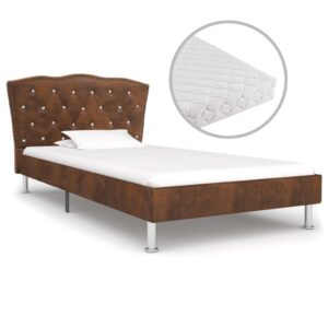 Cama com colchão 90x200cm tecido castanho - PORTES GRÁTIS