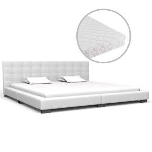 Cama com colchão 180x200 cm couro artificial branco - PORTES GRÁTIS