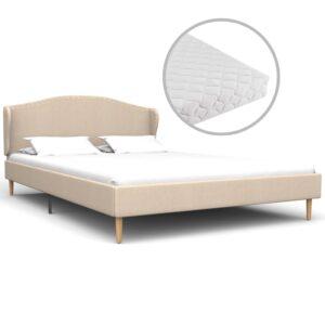 Cama com colchão 120x200 cm tecido bege - PORTES GRÁTIS