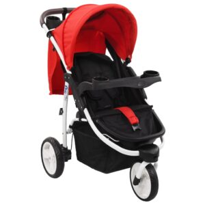 Carrinho de bebé com três rodas vermelho e preto - PORTES GRÁTIS