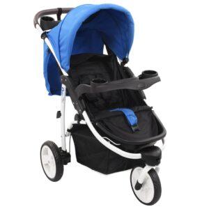 Carrinho de bebé com três rodas azul e preto - PORTES GRÁTIS