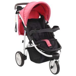 Carrinho de bebé com três rodas rosa e preto - PORTES GRÁTIS