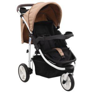 Carrinho de bebé com três rodas castanho-acinzentado e preto - PORTES GRÁTIS