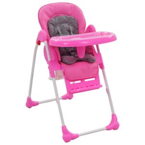 Cadeira de refeição para bebé rosa e cinzento - PORTES GRÁTIS