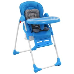 Cadeira de refeição para bebé azul e cinzento   - PORTES GRÁTIS