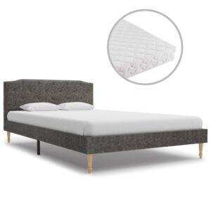 Cama com colchão 120x200cm tecido cinzento-escuro - PORTES GRÁTIS