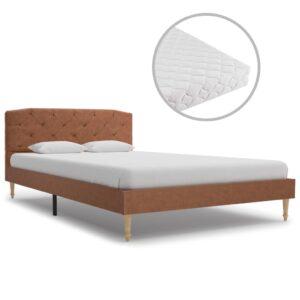 Cama com colchão 120x200cm tecido castanho - PORTES GRÁTIS