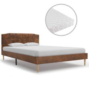 Cama com colchão 120x200 cm camurça artificial castanho - PORTES GRÁTIS