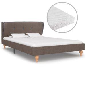 Cama com colchão 120x200 cm tecido cinzento-acastanhado - PORTES GRÁTIS