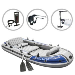 Intex Conj. barco insuflável Excursion 5 c/ motor de corrico e suporte - PORTES GRÁTIS