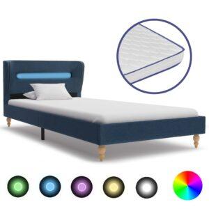 Cama c/ LED e colchão espuma de memória 90x200 cm tecido azul - PORTES GRÁTIS