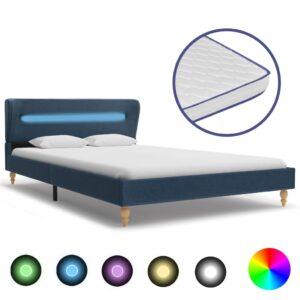 Cama c/ LED e colchão espuma de memória 120x200 cm tecido azul - PORTES GRÁTIS