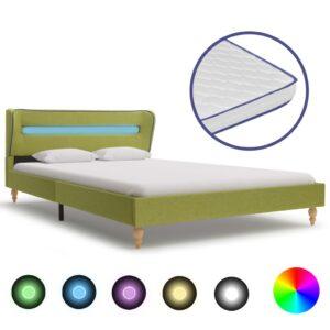Cama c/ LED e colchão espuma de memória 120x200 cm tecido verde - PORTES GRÁTIS
