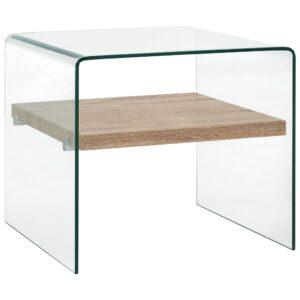 Mesa de centro 50x50x45 cm vidro temperado transparente - PORTES GRÁTIS