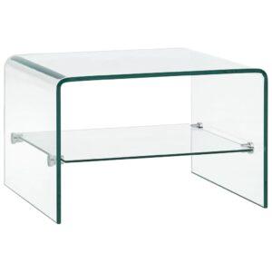 Mesa de centro 50x45x33 cm vidro temperado transparente  - PORTES GRÁTIS