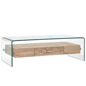 Mesa de centro 98x45x31 cm vidro temperado transparente - PORTES GRÁTIS