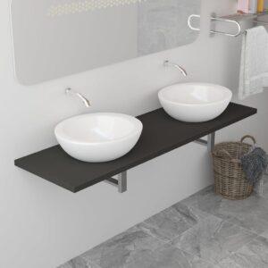 Prateleira de parede para lavatório cinzento 160x40x16,3 cm - PORTES GRÁTIS