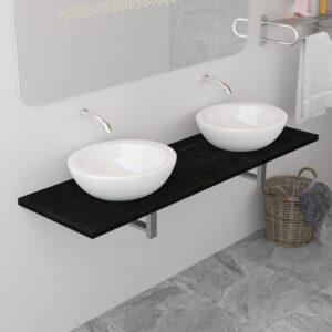 Prateleira de parede para lavatório preto 160x40x16,3 cm - PORTES GRÁTIS