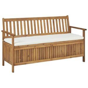 Banco de arrumação c/ almofadão 148 cm madeira de acácia maciça  - PORTES GRÁTIS