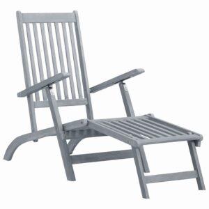 Espreguiçadeira c/ apoio de pés madeira de acácia cinza lavado - PORTES GRÁTIS