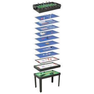 Mesa de jogos 15-em-1 121x61x82 cm cor preto - PORTES GRÁTIS