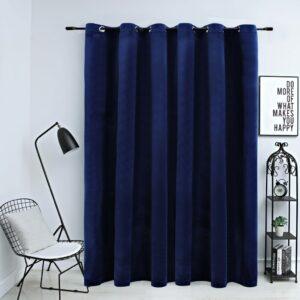 Cortina blackout c/ argolas metal 290x245 cm veludo azul-escuro - PORTES GRÁTIS