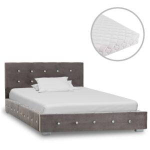 Cama com colchão 90x200 cm veludo cinzento - PORTES GRÁTIS