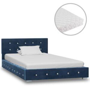 Cama com colchão 90x200 cm veludo azul - PORTES GRÁTIS