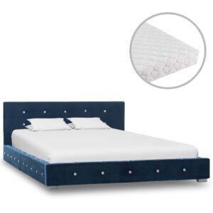Cama com colchão 120x200 cm veludo azul - PORTES GRÁTIS