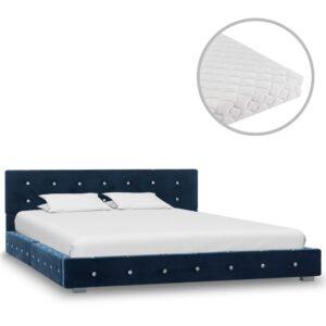 Cama com colchão 140x200 cm veludo azul - PORTES GRÁTIS