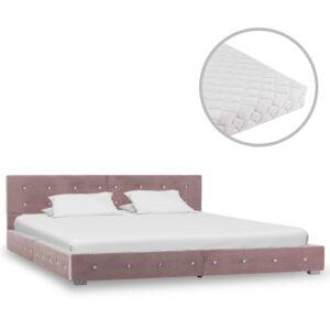 Cama com colchão 160x200 cm veludo rosa - PORTES GRÁTIS