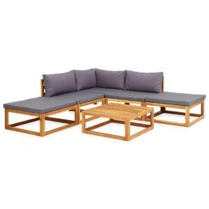 6 pcs conj. lounge jardim c/ almofadões madeira acácia maciça - PORTES GRÁTIS