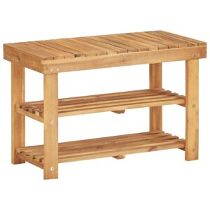 Sapateira 70x32x46 cm madeira de acácia maciça - PORTES GRÁTIS
