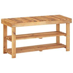 Sapateira 90x32x46 cm madeira de acácia maciça - PORTES GRÁTIS