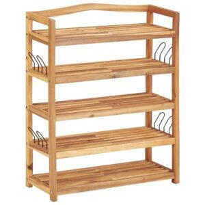 Sapateira c/ 5 prateleiras 64x26x80 cm madeira de acácia maciça - PORTES GRÁTIS