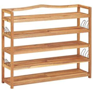 Sapateira c/ 5 prateleiras 95x26x80 cm madeira de acácia maciça - PORTES GRÁTIS