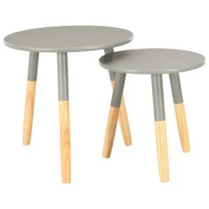 Mesas de apoio 2 pcs pinho maciço cinzento - PORTES GRÁTIS