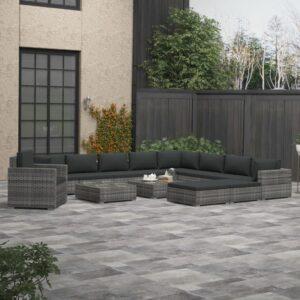 13 pcs conjunto lounge de jardim c/ almofadões vime PE cinzento - PORTES GRÁTIS