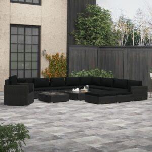 13 pcs conjunto lounge de jardim c/ almofadões vime PE preto - PORTES GRÁTIS