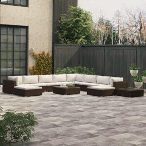 12 pcs conjunto lounge jardim c/ almofadões vime PE castanho - PORTES GRÁTIS