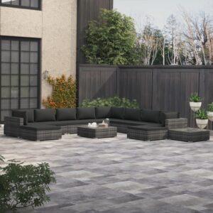 12 pcs conjunto lounge de jardim c/ almofadões vime PE cinzento - PORTES GRÁTIS
