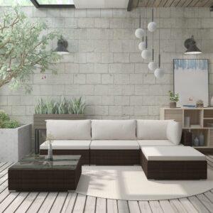 5 pcs conjunto lounge jardim c/ almofadões vime PE castanho - PORTES GRÁTIS